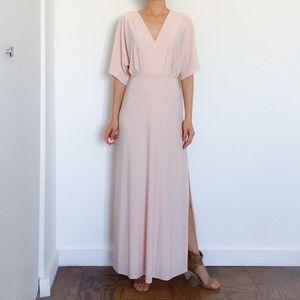 ASOS Petite Kimono Plunge Maxi Dress in Nude